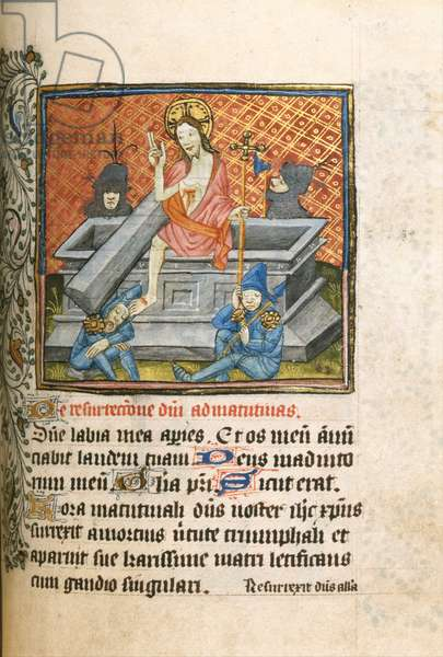 Ms 459 f.85 Resurrection of Christ, from a Book of Hours, English, 15th century