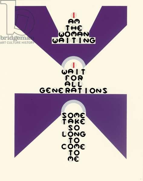 """I am the woman waiting"", leaf 10 from 'DMT 42' by Galina Golikova, 1969 (screenprint)"