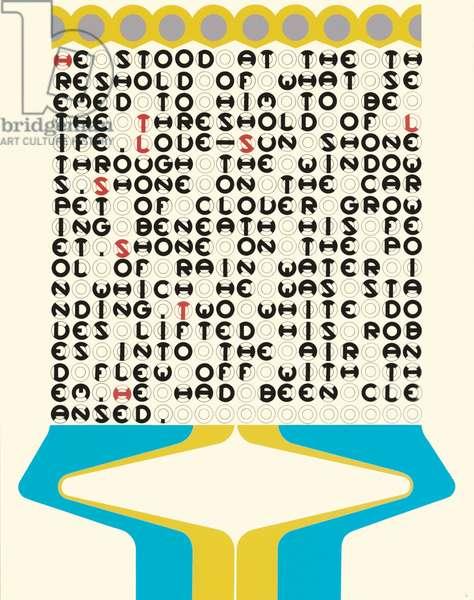 """He stood at the threshold"", leaf 16 from 'DMT 42' by Galina Golikova, 1969 (screenprint)"