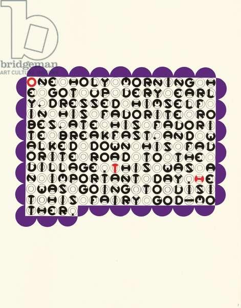 """One holy morning"", leaf 7 from 'DMT 42' by Galina Golikova, 1969 (screenprint)"