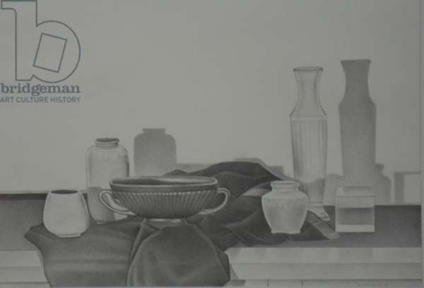 Still Life with 2 Black Cloths, 1985 (graphite on paper)
