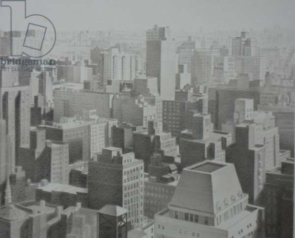 View from the 36th Floor, 2009 (graphite on paper)