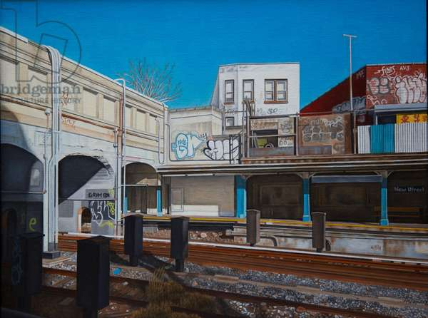 New Utrecht Station N Train II, 2013 (oil on canvas)