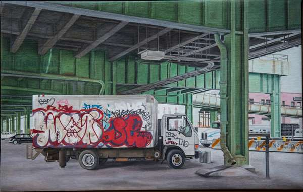 Under the BQE, 2014 (oil on canvas)