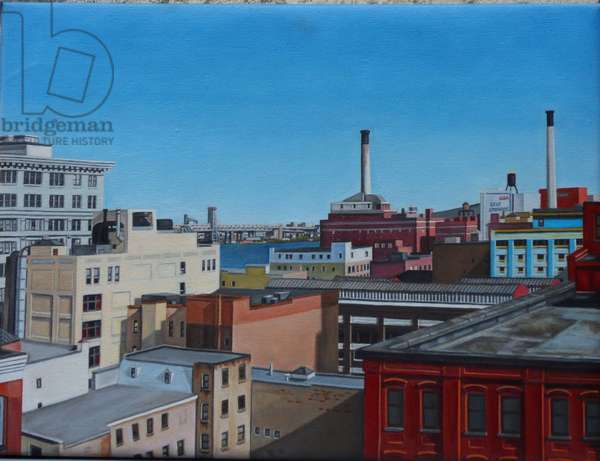 View from the Manhattan Bridge IV, 2012 (oil on canvas)
