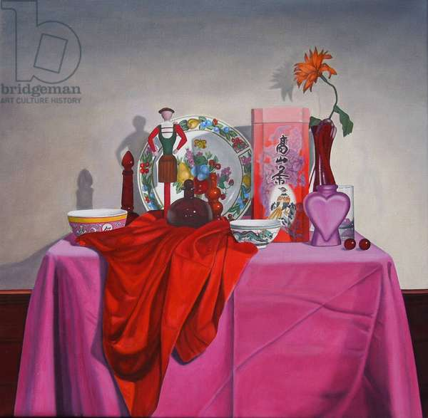 Composition in Red and Pink (oil on canvas)