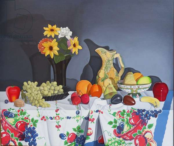 Still Life with Fruit and Flowers, 1997 (oil on linen)