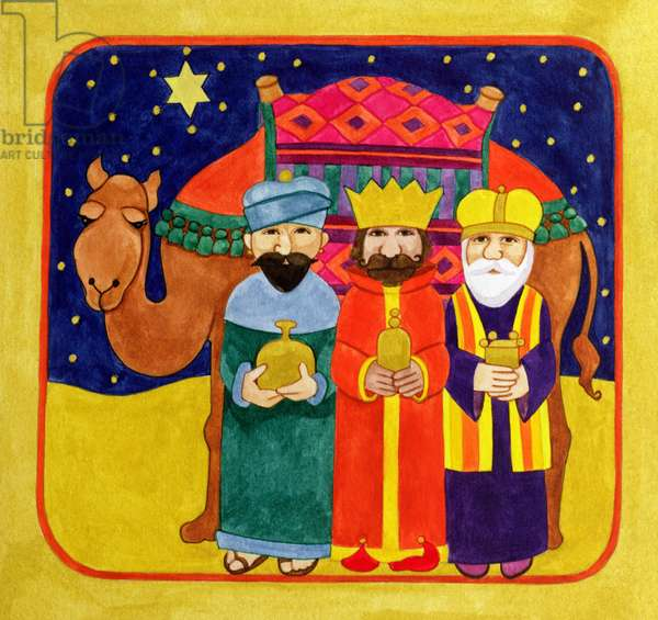 Three Kings and Camel (gouache on paper)
