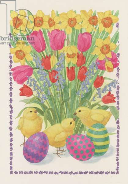 Chicks, Eggs and Flowers, 1995 (w/c on paper)