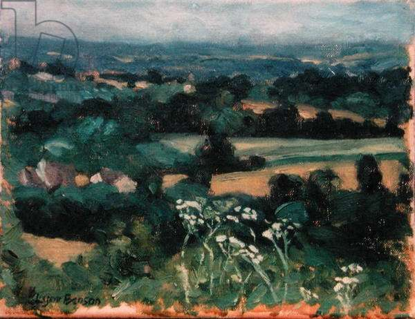 View of the Valley, July, Brittany, 1996 (oil on canvas)