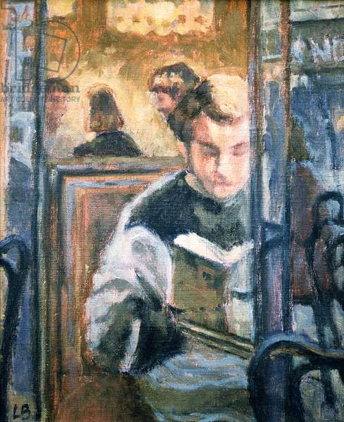 Jean reads 'Le Mandarin', St. Germaine de Pres, Paris, 1991 (oil on canvas)