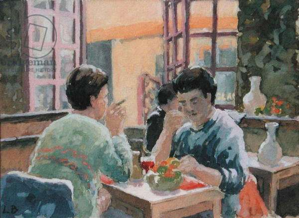 The Open Window, Cafe Le Relais des Princes, Combourg, Brittany, 2003 (gouache on paper)