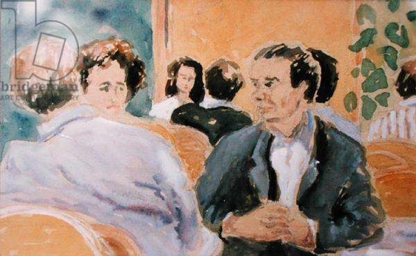 Conversation, 'Le Select', Montparnasse, 1991 (gouache on paper)