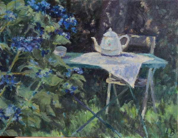 Blue Hydrangeas, Britttany (oil on canvas)