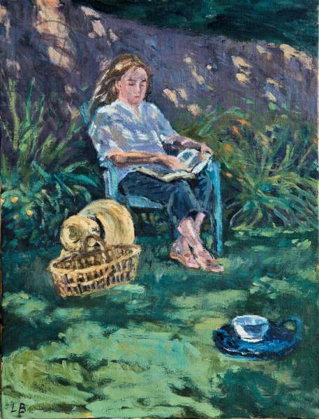 Myriam reading in the garden, 2009 (oil on panel)