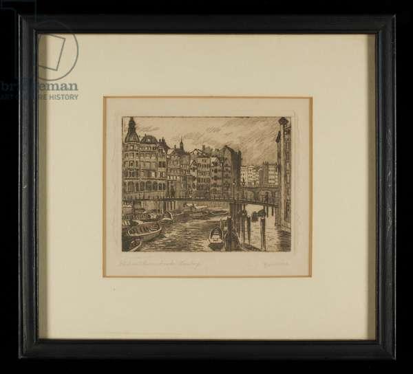 Canal with Reimers Bridge, Hamburg, c. 1920 (etching)