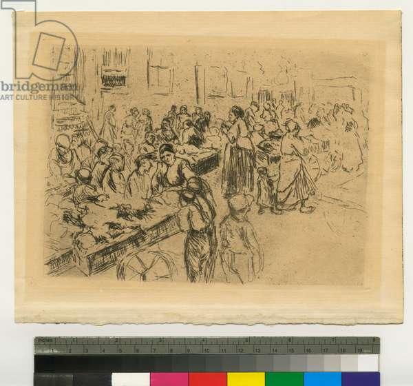 The Jewish Lane in Amsterdam, c.1900 (etching)