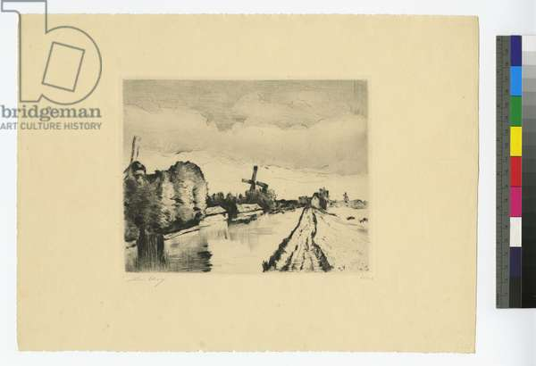 Dutch canal with windmills, 1923 (etching)