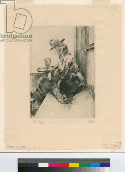Lady in a Café, c.1920 (drypoint)