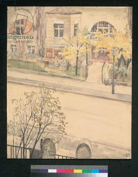 Street, from Her Window, 1929 (w/c)