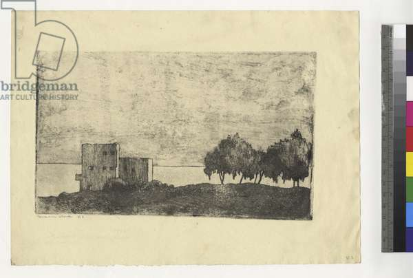 Haifa, Trees and Houses on Mount Carmel, c.1935 (ink on paper)