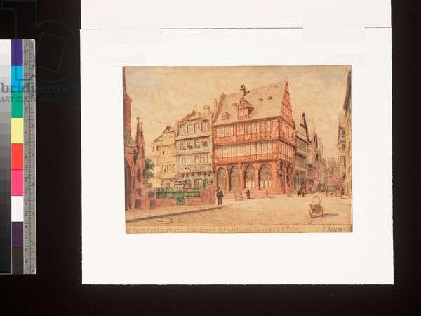 Frankfurt a. Main, Das Haus zur goldenen Waage am Dom, 19th century (ink and w/c on paper)