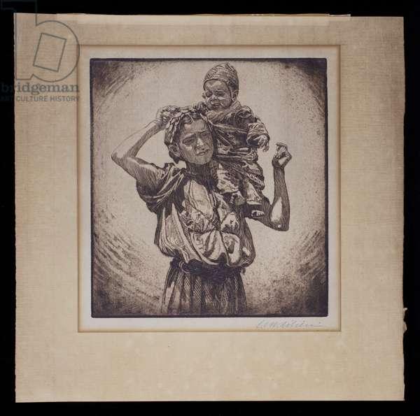 Motherhood, 1919 (etching, ink on paper)