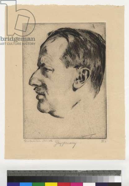 Portrait of Georg Hermann, c.1900 (etching, ink on paper)