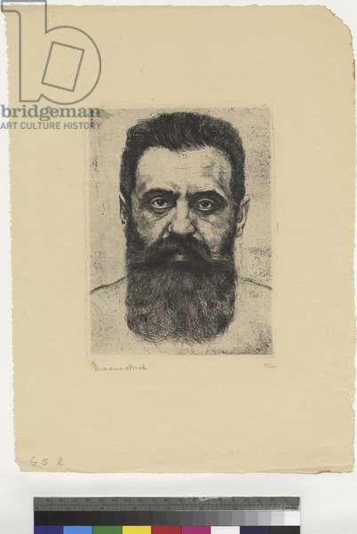 Portrait of Theodor Herzl, 1907 (ink on paper)