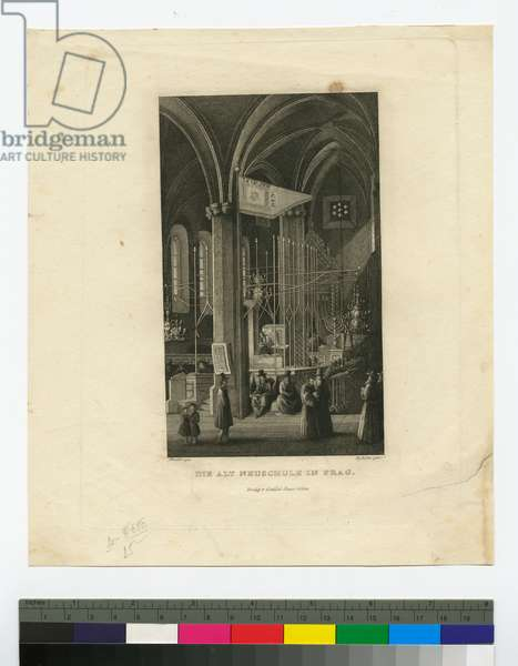 The Old New Synagogue in Prague, c.1831-72 (steel engraving)