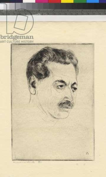 Portrait of Sholem Asch (VI), 1936 (etching, ink on wove paper)