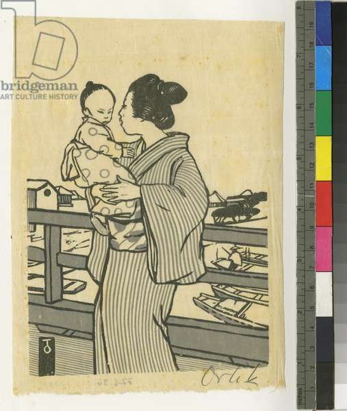 Japanese mother and child (woodcut in two colours on rice paper)