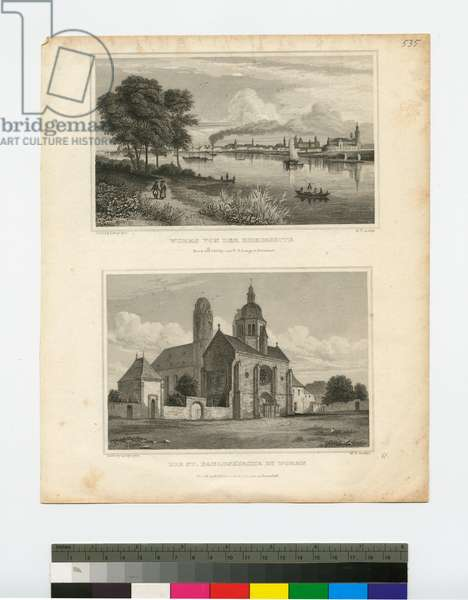 (Top) Worms from the Bank of the Rhine, (Bottom) The St. Paul's Church in Worms, 19th century (steel engraving)