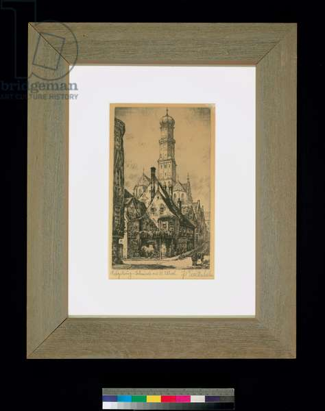 Augsburg - Forge with St. Ulrich, c.1920 (aquatint)