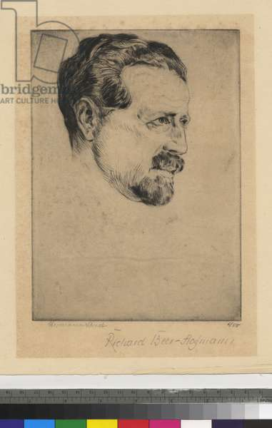 Portrait of Richard Beer-Hofmann, 1920 (etching, ink on wove paper)