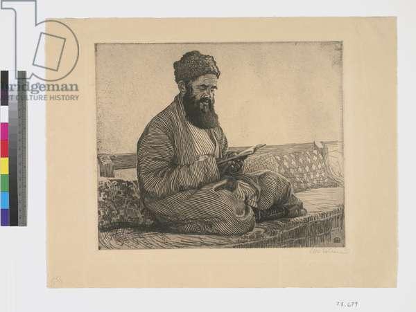 Oriental Jew, Reading (ink on paper)