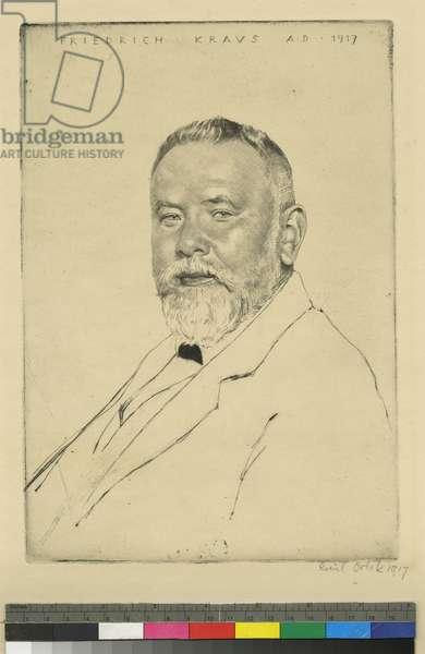Portrait of Friedrich Kraus, 1917 (etching & drypoint)