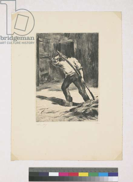 On the threshing floor, 1923 (etching)