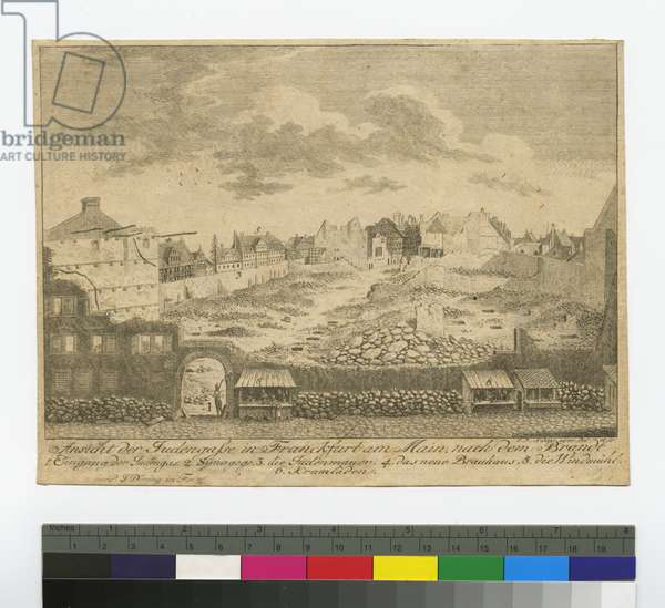 View of the Judengasse in Frankfurt-am-Main after the fire of January 14, 1711, 1796 (etching)