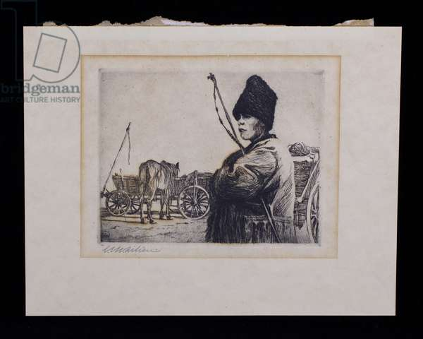 Young Cart Driver with a Hat, early 20th century (etching, ink on paper)
