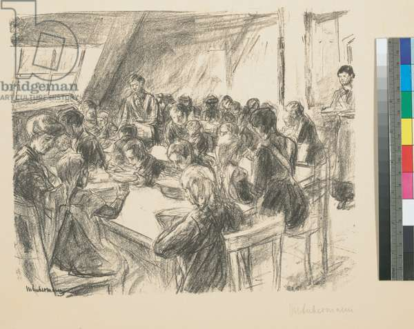 Children's Soup Kitchen, 1915 (lithograph, matted)