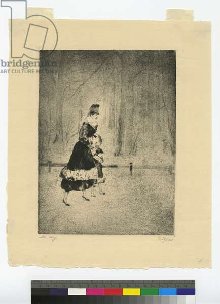 Lady with child in the Tiergarten, c.1920 (etching & aquatint)