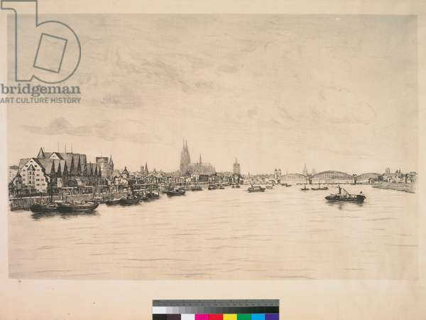 View of Cologne, 20th century (etching, ink on wove paper)