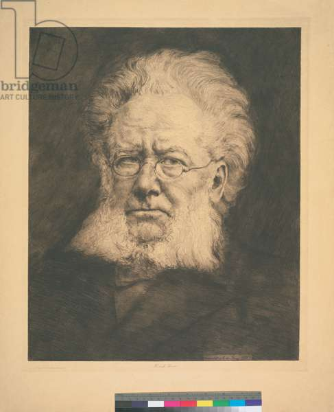 Portrait of Henrik Ibsen, 1906 (etching, ink on paper)