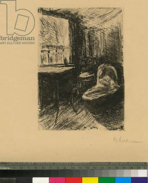 Interior with Baby in Cradle, c.1870-1935 (etching)