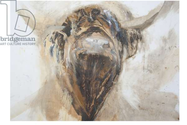 La Vache,Cow, 2015,(oil and mixed media on gesso on paper)