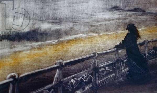 Courage, 2001 (oil on paper) Seashore windy, figure