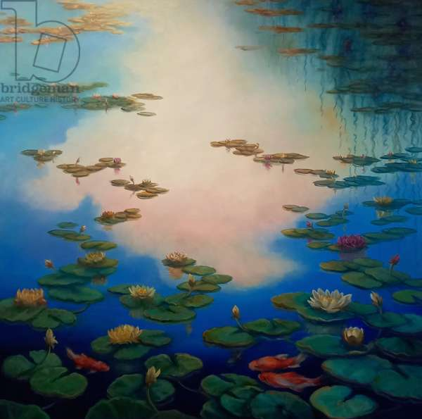 Waterlilies and Goldfish, 2021 (oil on canvas)