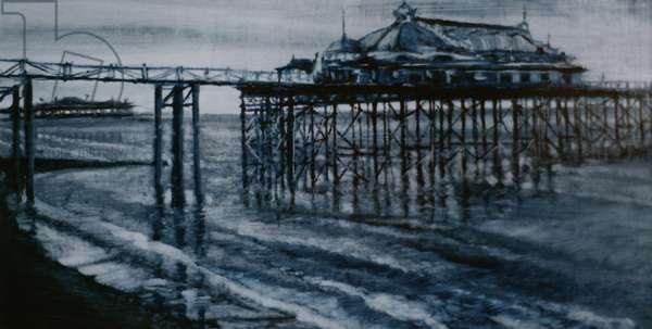 Old Pier Brighton 2001 (oil on paper) both piers Brighton