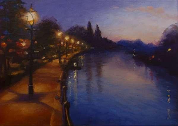 Twickenham Lights 2013 (oil on canvas) Landscape River